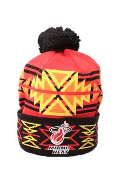 quality design a22b1 988af Mitchell And Ness  Miami Heat Geotech Cuffed Knit Pom Beanie  NBA M from   9.5