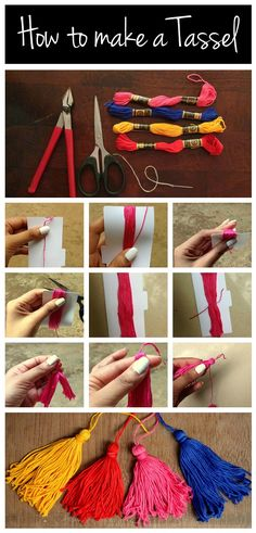 How to make Tassels - can be made into a necklace, used as a graduation gift topper or décor. Just need embroidery floss or anchor threads