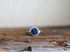 Cobalt Round Druzy Ring - 8mm