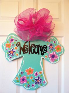 Large Wooden Cross Door Hanger, Summer Decor, Spring Decor. $30.00, via Etsy.