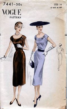 1951 Misses' OnePiece Dress  EasytoMake  Vogue 7441  Size by HelaQ, $20.00