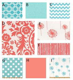 Custom Crib bedding - Coral and Aqua by GiggleSixBaby on Etsy https://www.etsy.com/listing/154753359/custom-crib-bedding-coral-and-aqua