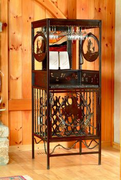 Ornamental iron hutch is truly a unique decoration.  #iron art #home decor