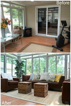 Inspired Wives How We Updated Our Three Seasons Room Enclosed Porches Screened In Porch
