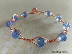 HANDMADE COPPER WIRE LIGHT BLUE CRYSTALS BRACELET Copper Wire Lights, Handmade Copper, Blue Crystals, Crystal Bracelets, Light Blue, Jewelry, Jewlery, Jewerly, Schmuck
