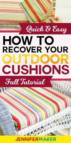 How to Recover Your Outdoor Cushions Quick & Easy - Jennifer Maker - Recover Cushions for Outdoor Furniture Quickly and Easily - Diy Outdoor Furniture, Outdoor Chairs, Furniture Ideas, Garden Furniture, Furniture Layout, Furniture Makeover, Furniture Chairs, Geek Furniture, Patio Chairs