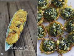 Potato pancakes with olive and thyme (left)  ❧  Potato pockets stuffed with spinach curry (right)  ❧  source: luluto.blogspot