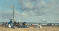 Beach at Trouville, 1864-65. Eugene Boudin