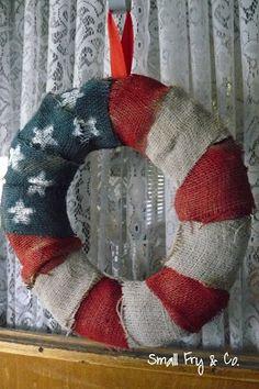 Last minute patriotic craft: burlap wreath. #redwhitebgosh