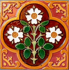 Late Victorian Majolica Tiles produced by Minton Tile Works.  Based on A.W. N. Pugin designs.