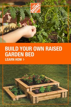 Create your own raised garden bed with products from The Home Depot. Planters and flower pots are great ways to garden, but the best way to grow fresh edible plants in your own yard is in a raised garden bed. In just five easy steps, you can have an amazing space for your vegetables and flowers. Click to get started with The Home Depot.