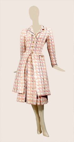 Chanel Pink and Ivory Tweed Ensemble French, mid The fitted coat contrived from two panels each side front, one L-shaped forming side and pocket extending to hem outlined with navy embroidery, notched collar and vented sleeve ends with same embroidery Chanel Fashion, 1960s Fashion, Timeless Fashion, Vintage Fashion, Coco Fashion, Chanel Style Jacket, Chanel Coat, Chanel Pink, Vintage Chanel