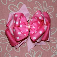 Pretty in Pink Hair Bow by MegansHairCandy on Etsy, $8.00