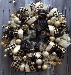 Stunning Black & Gold Christmas Wreath, Holiday Wreath, Christmas Mesh Wreath, Dazzling Design