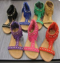 New Women Sandals Flats Slip on Slides Shoes Studs Gladiator Thongs Fringes | eBay
