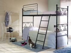 Modern Double Metal Bunk Bed for Girls Room. Comes apart to become two separate side by side beds.