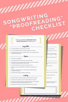 Free Songwriting Checklist  | Modern Songstress