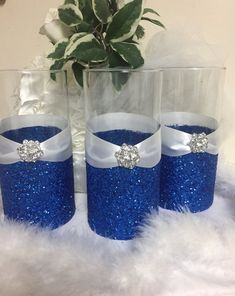 Wedding Centerpiece Glitter Vase Bridal Bouquet Holder Bridesmaid Bling Royal Blue Candle