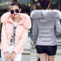 Women's Down & Parkas Cotton Jacket Female Cotton-padded Coat Winter Large Fur Collor With Hoody Plu