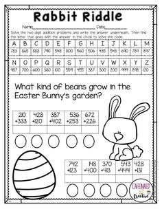 Hop along and have students practice adding two 3 digit numbers with Rabbit Riddle, perfect for Easter! After solving each equation, students will find the letter that matches the answer to solve the riddle.  Part of a Spring Literacy and Math No Prep Bundle for Second Grade.