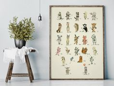 Items similar to F for Fox - - Alphabet art - Alphabet print - ABC wall art - ABC print - Nursery art - Nursery decor - Kids room decor - Children's art on Etsy Alphabet Poster, Alphabet Wall Art, Alphabet Print, Abc Alphabet, Animal Alphabet, Nursery Decor Boy, Nursery Wall Art, Abc Nursery, Animal Nursery