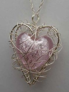 Baby Pink Venetian Glass Heart Handmade Silver Cage