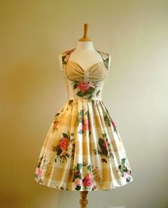 Rose Bouquet Print Milkmaid dress - Made by Dig For Victory