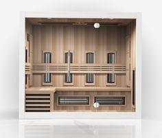 Ruime en moderne infrarood sauna (ook als combinatie met finse sauna mogelijk) van SuperSauna Cabine Sauna, Red Cedar, Bookcase, Shelves, Kitchen, Design, Home Decor, Shelving, Cuisine
