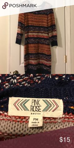 Pink rose sweater dress Fall colors Sweaters