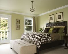 Brown and Green Master Bedroom - Paint Color is Hearts Of Palm by Sherwin-Williams - Home Decoratings Light Green Bedrooms, Green Master Bedroom, Master Bedroom Addition, Master Bedroom Design, Home Bedroom, Bedroom Decor, Bedroom Ideas, Bedroom Photos, Master Bedrooms