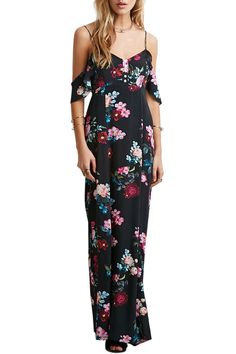 Floral Spaghetti Strap Off The Shoulder Maxi Dress
