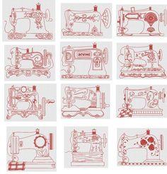 Vintage Sewing Machines Redwork Machine Embroidery Designs by JuJu