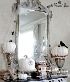The Decorated House: ~ Annie Sloan Chalkpaint Pumpkins - Black & White with Silver Halloween Decorating!