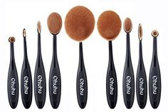 Ohuhu 10 Pcs Oval Makeup Brush Sets Foundation Cream Powder Cosmetics Brushes Kit >>> Check this awesome product by going to the link at the image.
