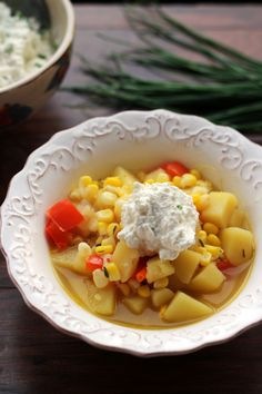 Summer Vegetable Corn Chowder with Chive Ricotta - Joanne Eats Well With Others