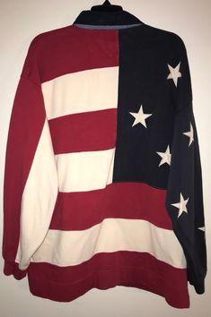 89c0379e5 Vintage Tommy Hilfiger American USA Flag Long Sleeve Polo Shirt Mens L |  eBay