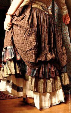 Купить ОДЕЖДА ДЛЯ СВОБОДНЫХ НАТУР - коричневый, в клеточку, многослойная одежда, многослойная юбка, бохо