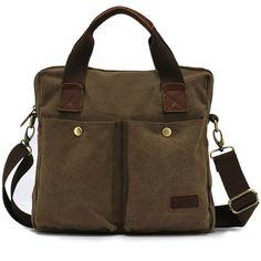 KAUKKO Men Vintage Canvas Military Shoulder Bag Messenger Crossbody Bag