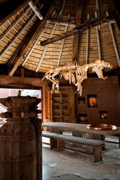 Hippo skeleton chandelier | Leobo Lodge, Waterberg South Africa