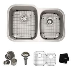 """View the Kraus KBU24 32"""" Undermount 60/40 Double Bowl 16 Gauge Stainless Steel Kitchen Sink at FaucetDirect.com."""