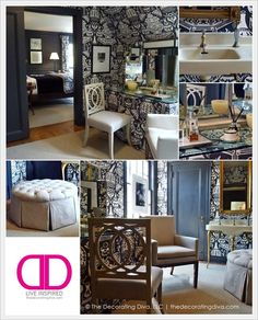 Adamsleigh Showhouse: Robert Brown Traditional Style Dressing Room in Blue and White. | The Decorating Diva, LLC