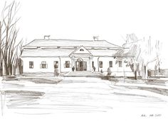 Original Drawing. Pencil. Manor house. by ArtLotStudio on Etsy