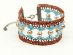 Blue Copper Lace Bracelet - Copper Pearls - For Her - Boho Style - Fiber Art Jewelry - Lightweight - Wide Bracelet | by Pinara Design