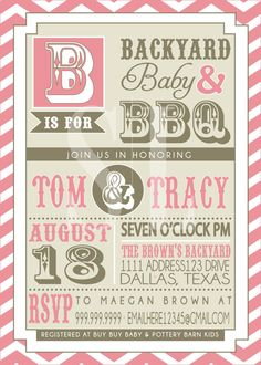 BBQ BABY SHOWER invitation. $18.00, via Etsy. (I love how it includes the baby shower info at the bottom)