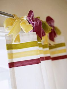 Velvet Ribbon Detail  For a fresh and flirty treatment, use high-quality ribbon for bows with body and stripes that stand out.  Tip: Washable fabric glue will be strong enough to withstand a washing machine and will remain clear and flexible.