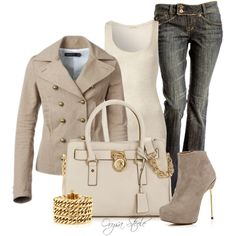 Gold and Beige love the Jacket and Jeans