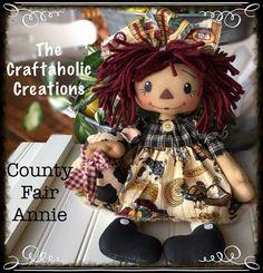 * Primtive RAGGEDY ANN doll ragdoll  ~County Fair Annie ~ FARM pig COW chicken #NaivePrimitive