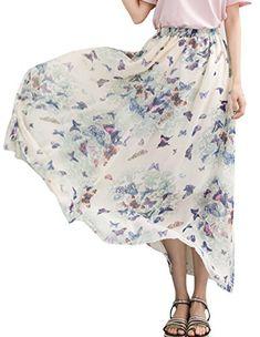 8196f153d Chouyatou Womens Ankle Length Chiffon Elastic Floral Print Flowy Maxi Skirt  Free Size HG06 **