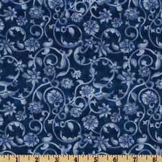 108'' Tonal Scroll Quilt Backing Blue from @fabricdotcom  This 108'' wide quilt backing features an allover scroll pattern. It is perfect for quilt backing, duvets, light curtains and more! Colors include shades of light blue and dark blue.