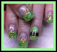 Lime green - Black - Gold - Giltter - Rhinestones - Clovers - St. Patrick